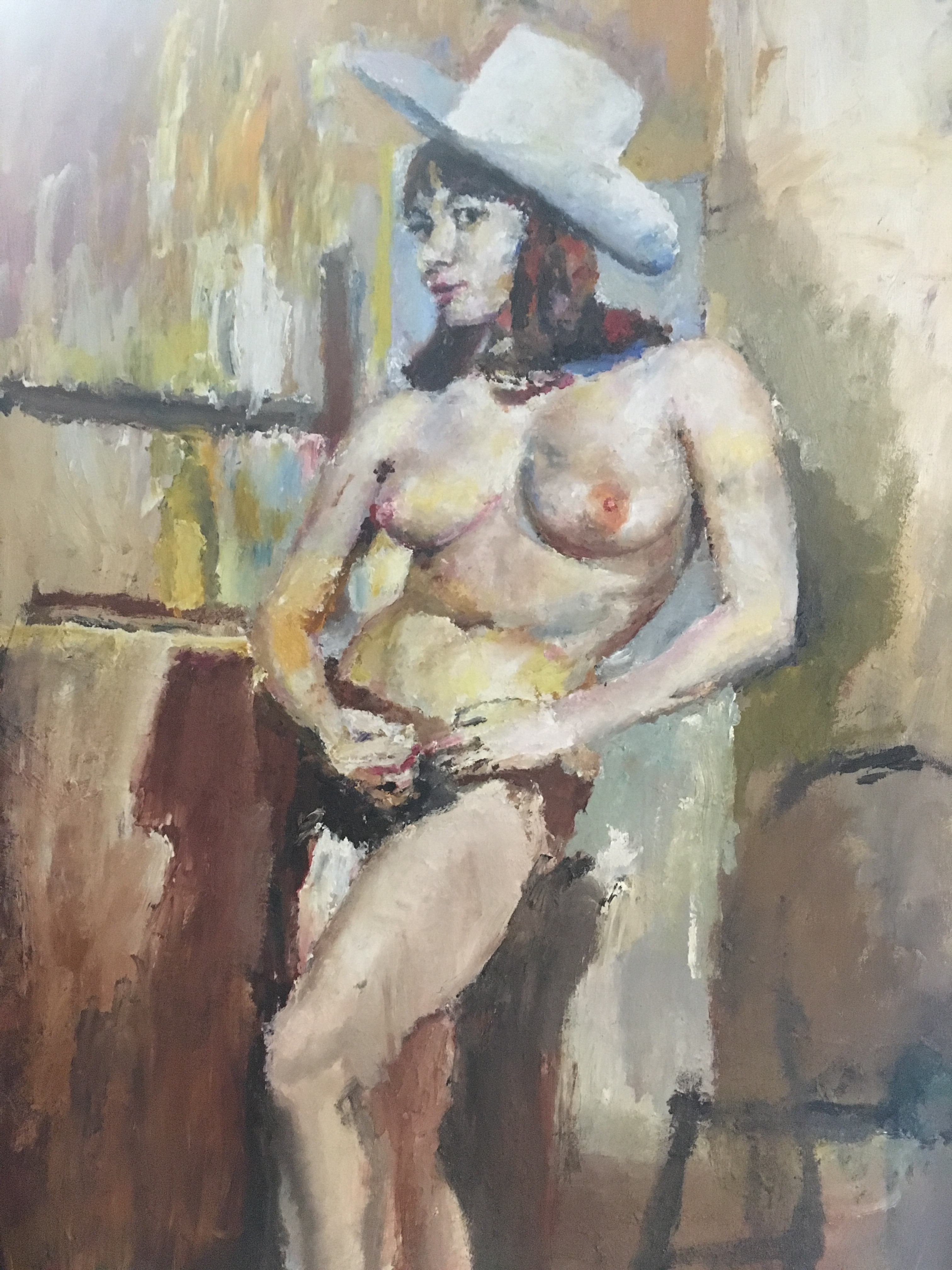 Oil painting by Jesse Edwards, nude oil painting, nude cowgirl oil painting done