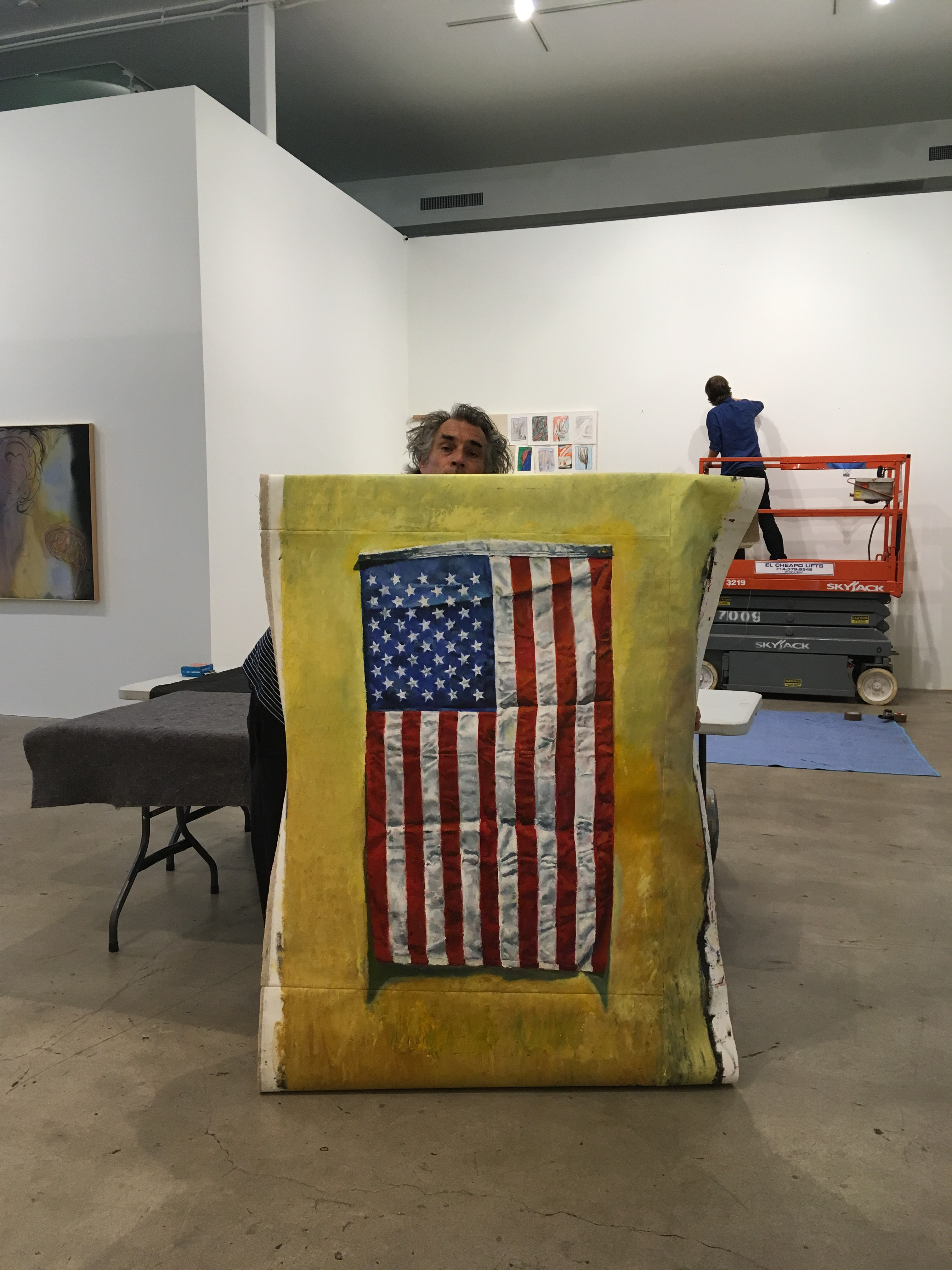Oil painting by Jesse Edwards of American flag