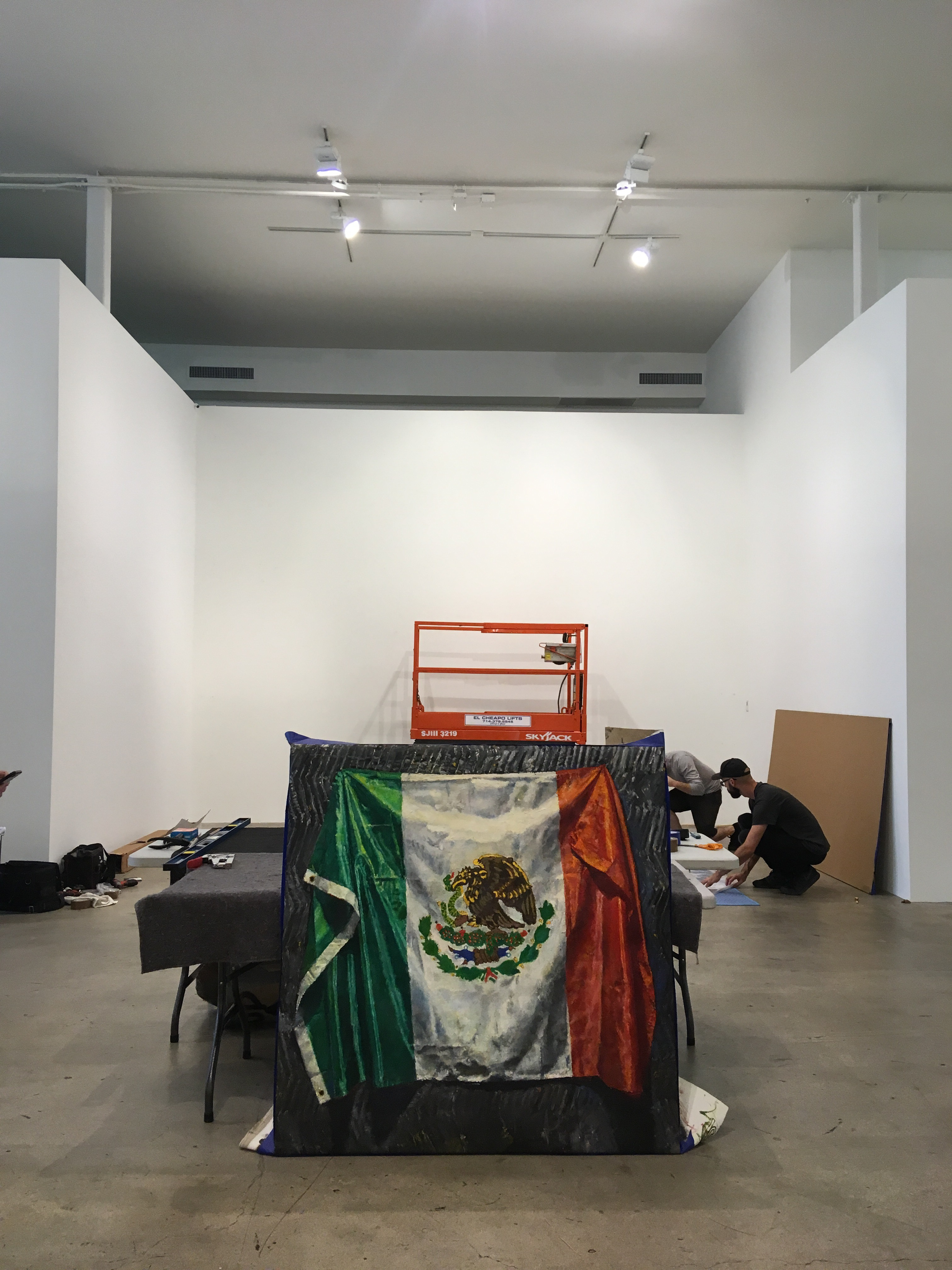 Oil painting of Mexican flag by Jesse Edwards