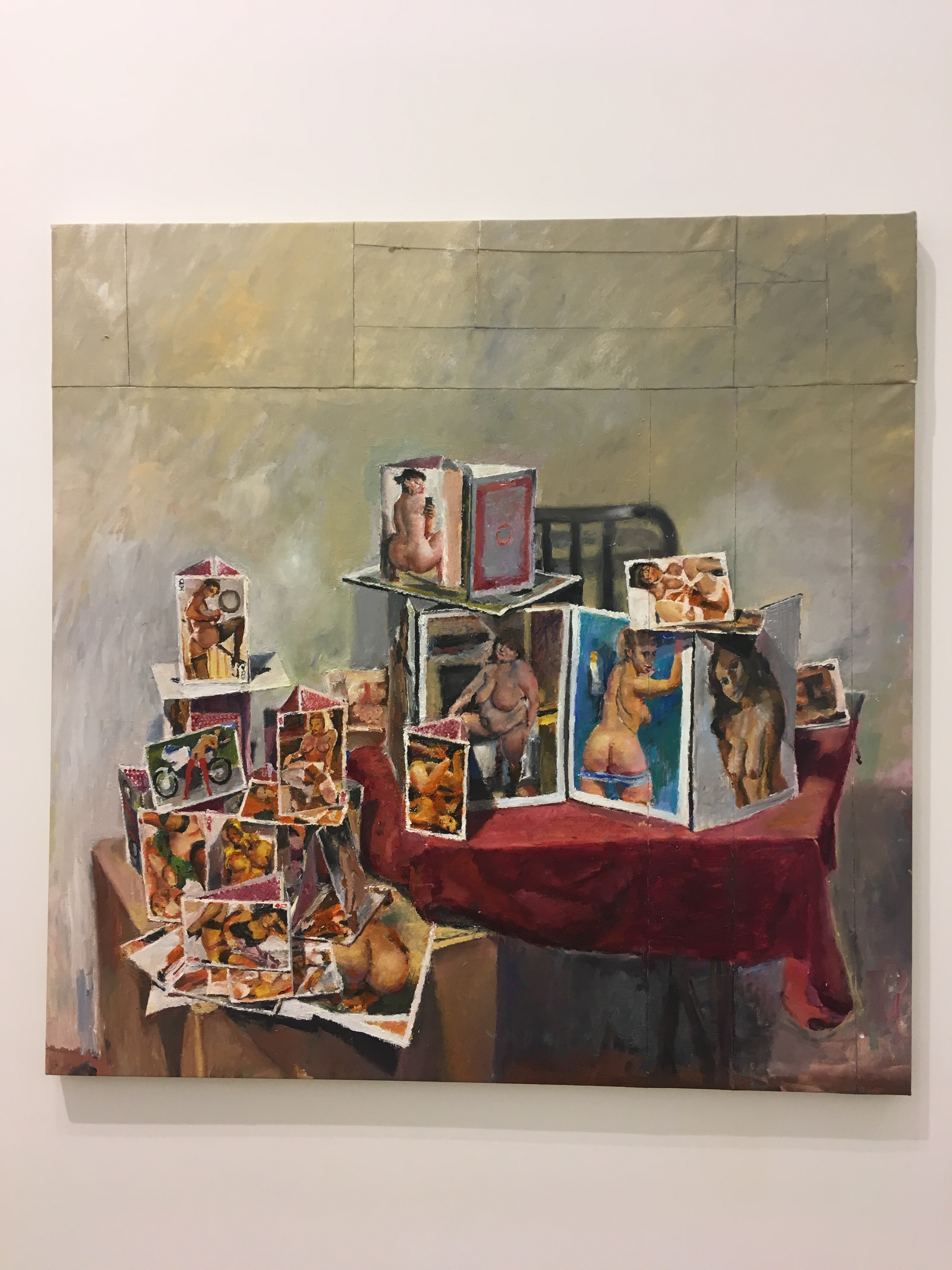 Nude card houses, courthouse oil painting, I oil painting by Jesse Edwards, nude contemporary art, fine art Diane Rosenstein