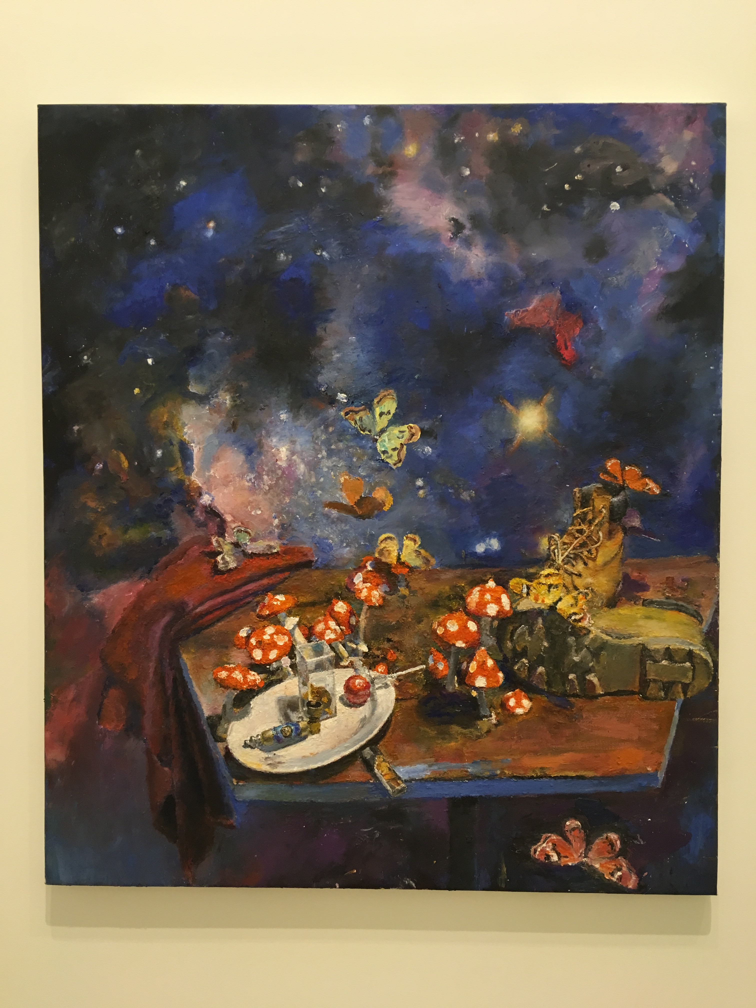 Oil painting by Jesse Edwards, still life oil painting of magic mushrooms and butterflies, oil paint on linen, Diane Rosenstein gallery, oil painting from life, contemporary still life art